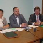 spaudos konferencijoje su UNESCO Geros valios AIDs ambasadore Kristina Oven Jones ir Sveikatos ministru J.Oleka